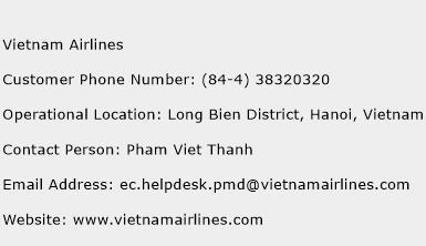 Vietnam Airlines Phone Number Customer Service