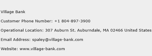 Village Bank Phone Number Customer Service