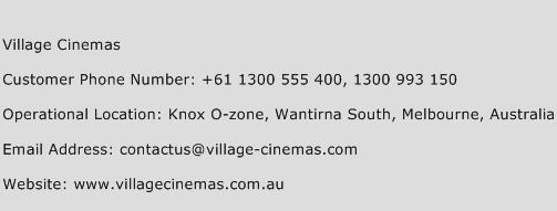 Village Cinemas Phone Number Customer Service