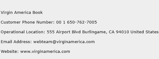 Virgin America Book Phone Number Customer Service