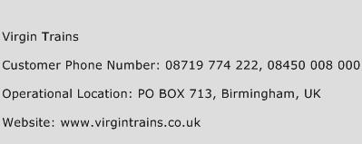 Virgin Trains Phone Number Customer Service