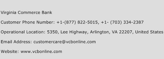 Virginia Commerce Bank Phone Number Customer Service