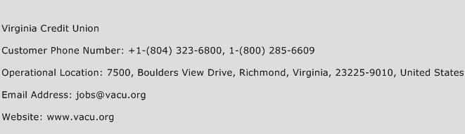 Virginia Credit Union Phone Number Customer Service