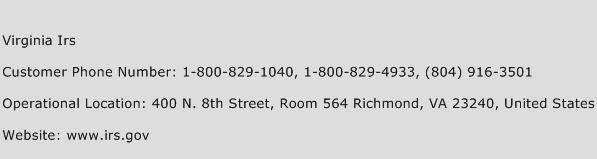 Virginia Irs Phone Number Customer Service