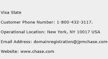 Visa Slate Phone Number Customer Service