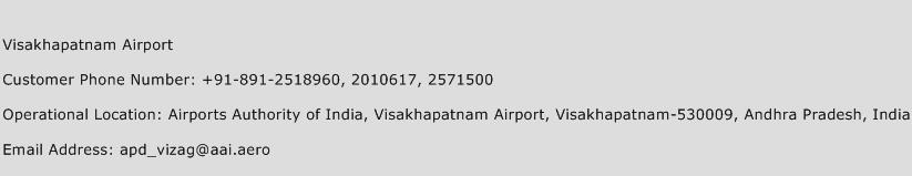 Visakhapatnam Airport Phone Number Customer Service
