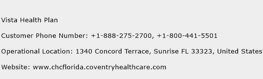 Vista Health Plan Phone Number Customer Service