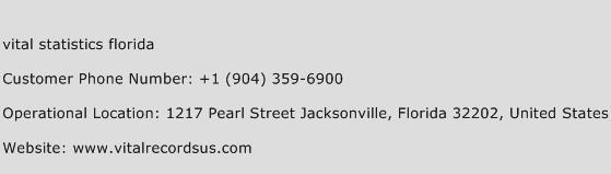 Vital Statistics Florida Phone Number Customer Service
