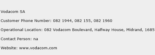 Vodacom SA Phone Number Customer Service