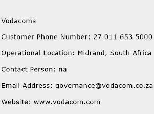 Vodacoms Phone Number Customer Service