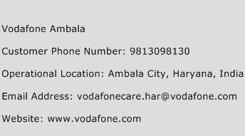 Vodafone Ambala Phone Number Customer Service