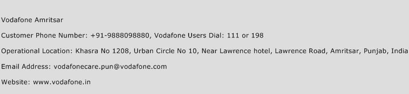 Vodafone Amritsar Phone Number Customer Service