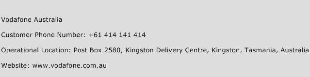 Vodafone Australia Phone Number Customer Service
