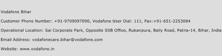 Vodafone Bihar Phone Number Customer Service