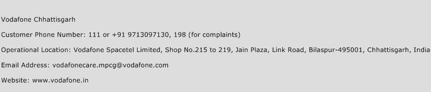 Vodafone Chhattisgarh Phone Number Customer Service