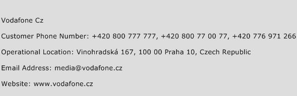 Vodafone Cz Phone Number Customer Service