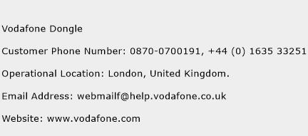 Vodafone Dongle Phone Number Customer Service