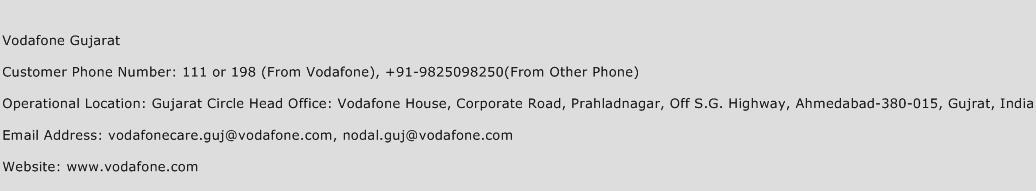 Vodafone Gujarat Phone Number Customer Service