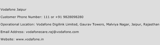 Vodafone Jaipur Phone Number Customer Service