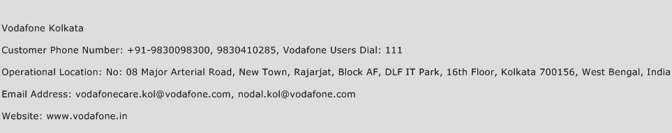 Vodafone Kolkata Phone Number Customer Service