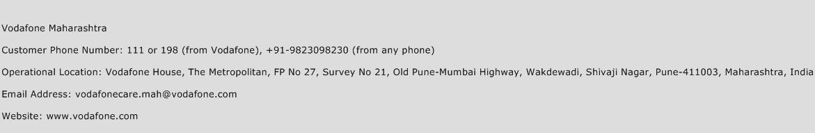 Vodafone Maharashtra Phone Number Customer Service