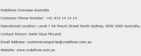 Vodafone Overseas Australia Phone Number Customer Service