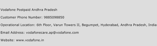 Vodafone Postpaid Andhra Pradesh Phone Number Customer Service