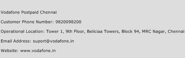 Vodafone Postpaid Chennai Phone Number Customer Service