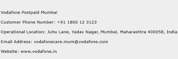 Vodafone Postpaid Mumbai Phone Number Customer Service
