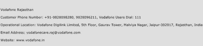 Vodafone Rajasthan Phone Number Customer Service
