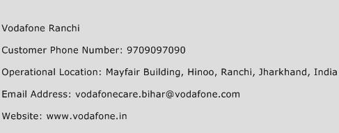 Vodafone Ranchi Phone Number Customer Service