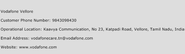 Vodafone Vellore Phone Number Customer Service