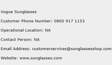 Vogue Sunglasses Phone Number Customer Service