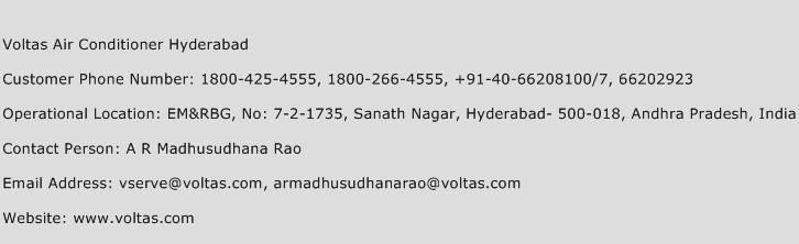 Voltas Air Conditioner Hyderabad Phone Number Customer Service