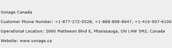 Vonage Canada Phone Number Customer Service