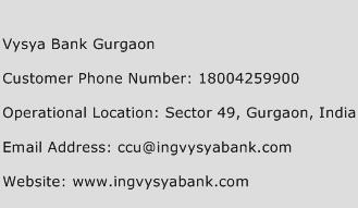 Vysya Bank Gurgaon Phone Number Customer Service
