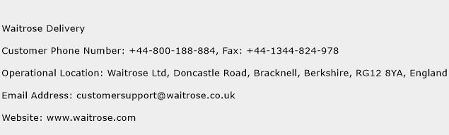 Waitrose Delivery Phone Number Customer Service