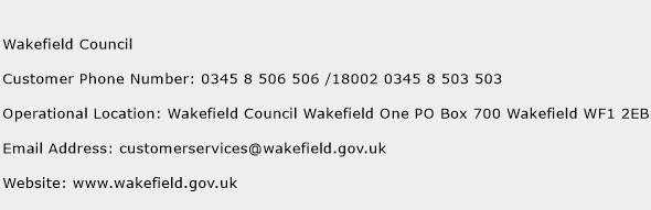 Wakefield Council Phone Number Customer Service