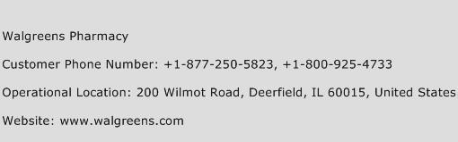 Walgreens Pharmacy Phone Number Customer Service