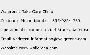 Walgreens Take Care Clinic Phone Number Customer Service
