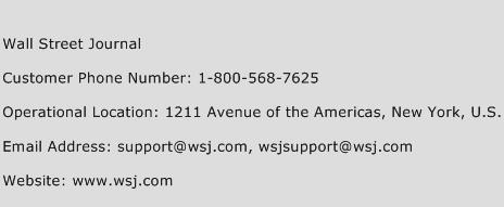 Wall Street Journal Phone Number Customer Service