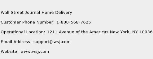 Wall Street Journal Home Delivery Phone Number Customer Service
