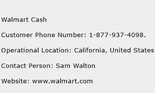 Walmart Cash Phone Number Customer Service