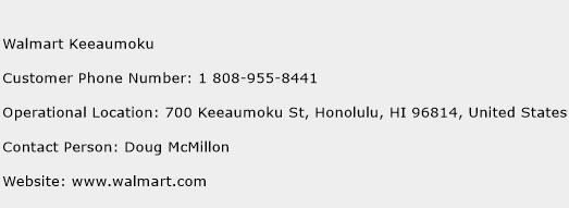 Walmart Keeaumoku Phone Number Customer Service