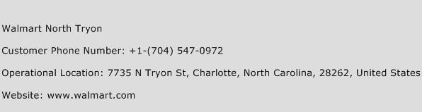 Walmart North Tryon Phone Number Customer Service