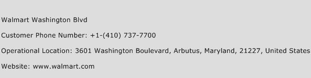 Walmart Washington Blvd Phone Number Customer Service