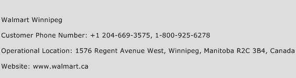 Walmart Winnipeg Phone Number Customer Service
