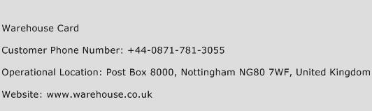 Warehouse Card Phone Number Customer Service