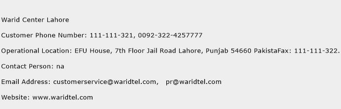 Warid Center Lahore Phone Number Customer Service