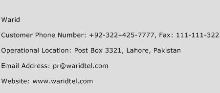 Warid Phone Number Customer Service